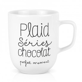 Large porcelain mug: Plaid séries chocolat