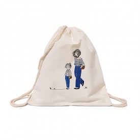 Child backpack: Mother and daughter in jeans