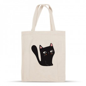Cotton tote bag: Black cat