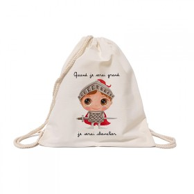 Cotton backpack : When I grow up, I will be a knight