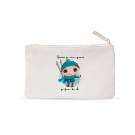 "Small pouches ""When I grow up I will ski"""