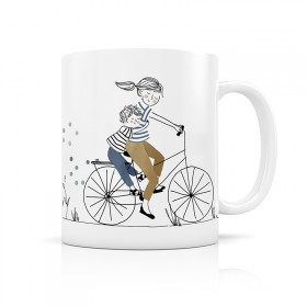 Ceramic mug: Mother Son Bike