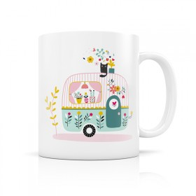 Ceramic cup caravan and flowers