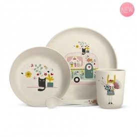Complete bamboo fibre dinner set for babies and children. by Zabeil