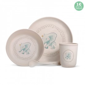 Complete bamboo fibre dinner set for babies and children.