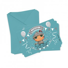 6 party invitations + envelopes knight by Isabelle Kessedjian