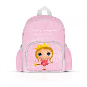 Small backpack with pockets: Quand je serai grande, je serai princesse
