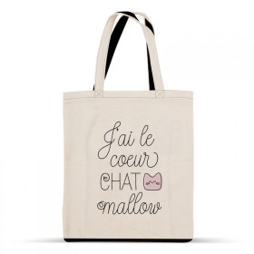 Cotton bag: J'ai le cœur Chat mallow