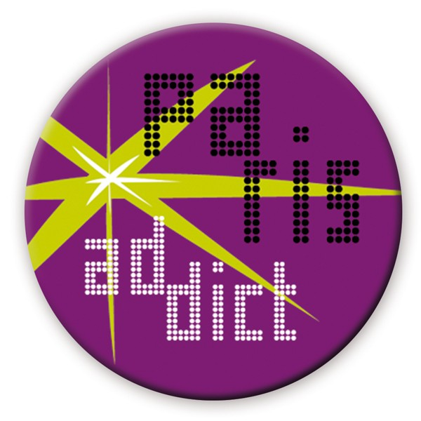 "Badge ""Happy / Violet"" by Marie-Pierre Denizot"