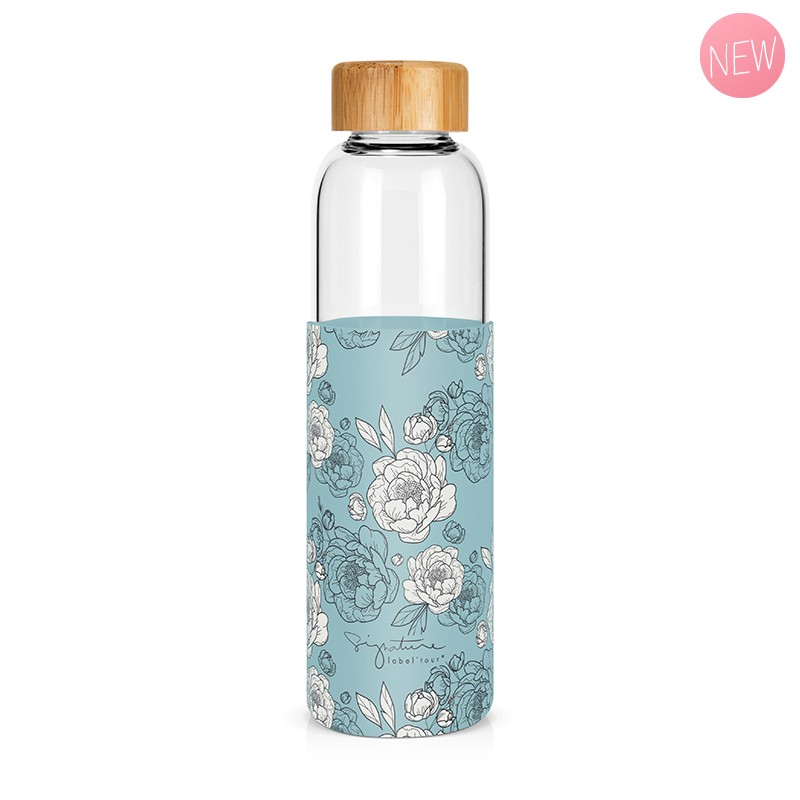"""Peonies"" glass bottle by Label'tour créations"