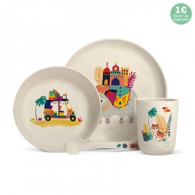 Complete bamboo fibre dinner set for children. by Zabeil