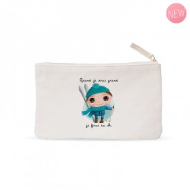 """Small pouches """"When I grow up I will ski"""" by Isabelle Kessedjian"""