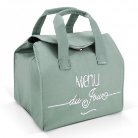 "Green insulated lunch bag ""Menu du jour"""