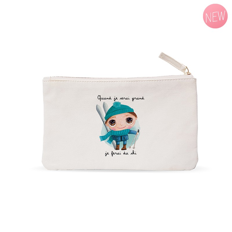 "Small pouches ""When I grow up I will ski"" by Isabelle Kessedjian"