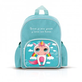 Small backpack with pockets: Quand je serai grande, j'aurai une licorne by Isabelle Kessedjian