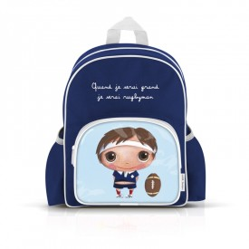 Small backpack with pockets: Quand je serai grand,je serai rugbyman by Isabelle Kessedjian