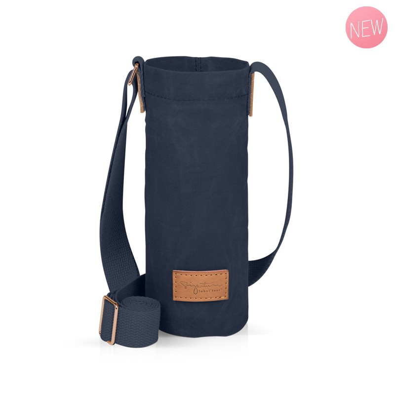 Navy blue bottle holder bag by Label'tour créations