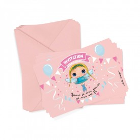 6 party invitations + envelopes Princess by Isabelle Kessedjian