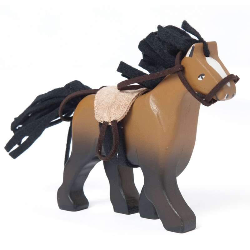 Brown horse with saddle by Le toy van