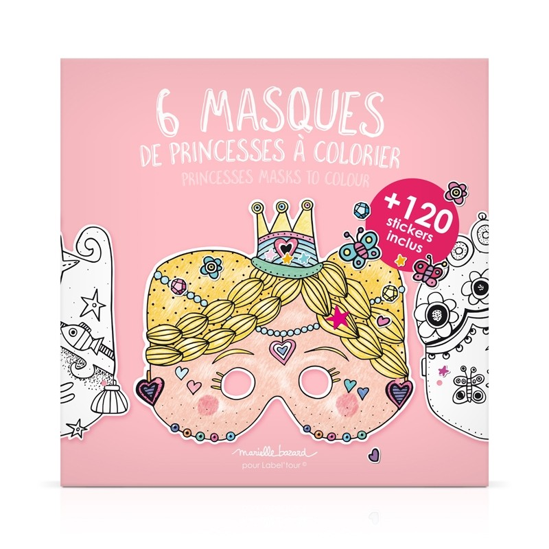 "Pouch of 6 masks to color ""Princesses"" by Marielle Bazard"