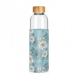 """Peonies"" large glass bottle"