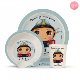 Bambou dinner set: Pompier by Isabelle Kessedjian