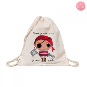Cotton backpack : When I grow up, I will be a pirate