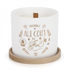 "Scented candle with wood wick ""Ensemble au coin du feu"" by Créa bisontine"
