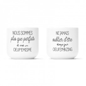 "2 porcelain egg cups box ""Œuf'emisme and Œufs'mazing"""