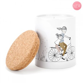 Ceramic candle: Mother Daughter Bike