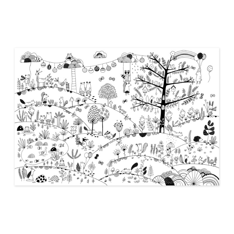 """Poster to colour in """"Magical Forest"""" by Label'tour créations"""